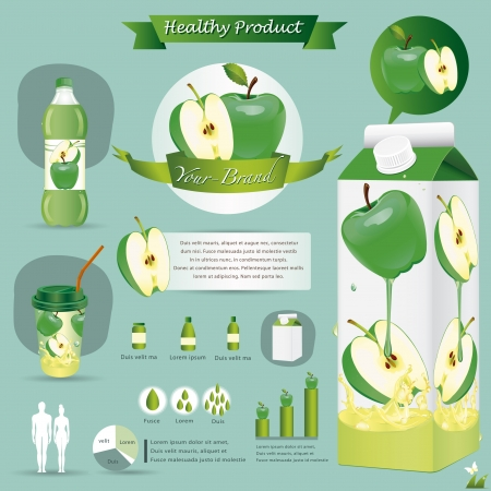 Green apple package Vector
