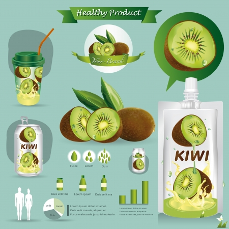 Kiwi fruits package Vector