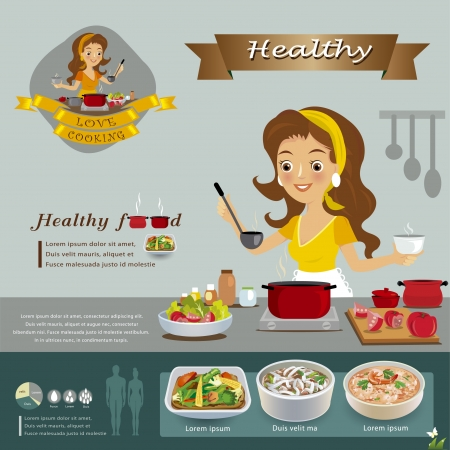 cuisine: Femme dans la cuisine Illustration