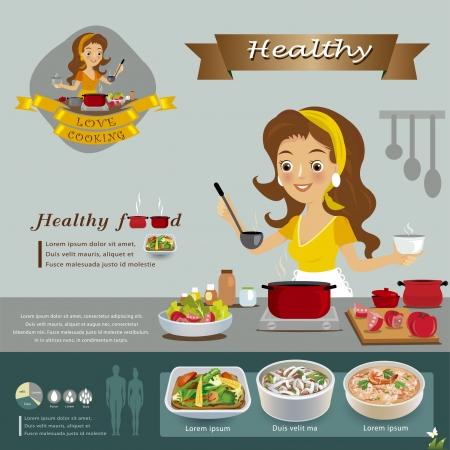 chef caricatura: Mujer en la cocina