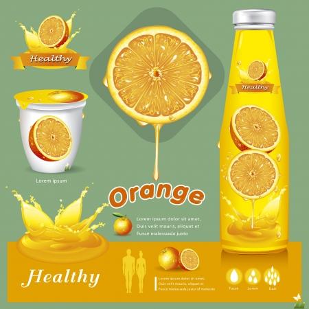 bottled: Orange juice illustration Illustration