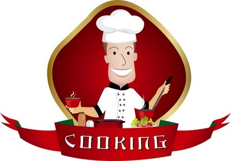 Man cooking illustration Vector