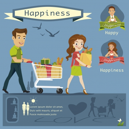 woman man Shopping infographics vector illustration