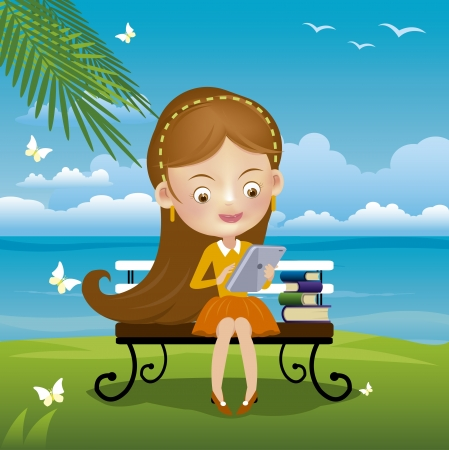 Vector illustration of a young girl with laptop Stock Vector - 21870855