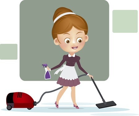vacuum cleaner: Woman with vacuum cleaner Illustration