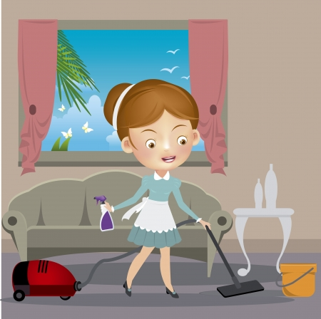 dirty room: Woman with vacuum cleaner Illustration