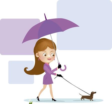 Girl walking a dog  Vector illustration  Illustration