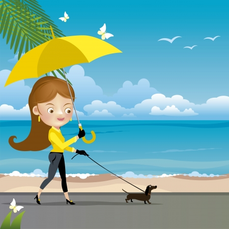 dog walk: Girl walking a dog  Vector illustration  Illustration