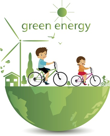 Kids bike with green  Stock Vector - 21870862