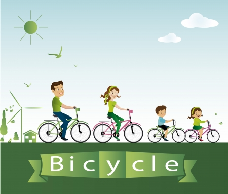 Vector illustration of family riding bicycle  Vector