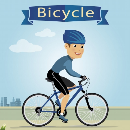 vector illustration of young man riding bicycle