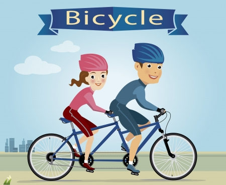 vector illustration of young lady and man riding bicycle