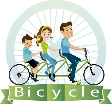 bicyclists: Vector illustration of family riding bicycle  Illustration