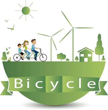 vector illustration of cycling for green earth  Vector