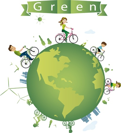 vector illustration of cycling for green earth Stock Vector - 21873979