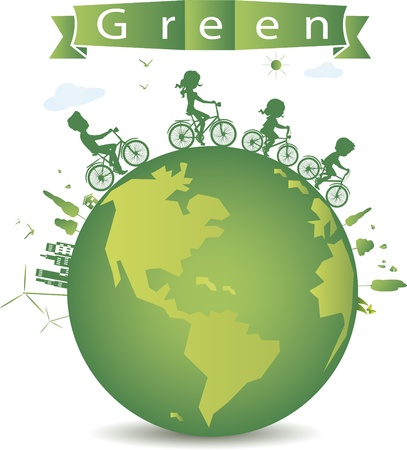 vector illustration of cycling for green earth  Çizim