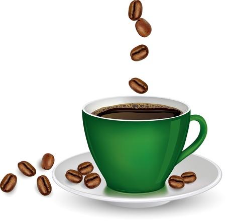 chicchi di caff�: Caff� in tazza verde e fagioli su sfondo bianco vettoriale ilustration