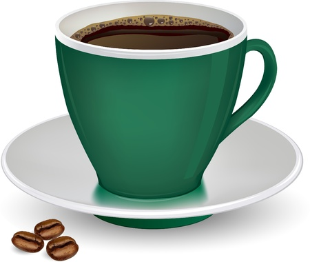 Coffee in green cup and beans on a white background vector ilustration