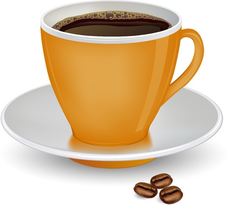 coffee beans white background: Coffee in orange cup and beans on a white background vector ilustration Illustration
