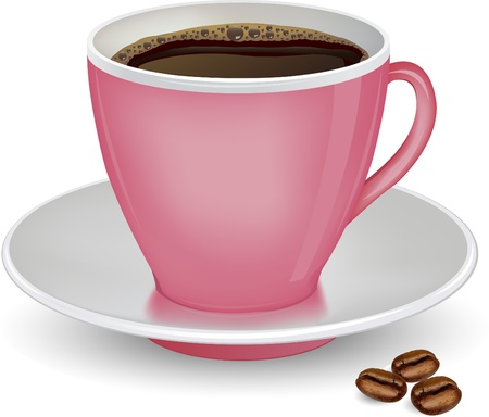 Coffee in pink cup and beans on a white background vector ilustration Stock Vector - 21873998