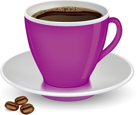 Coffee in purple cup and beans on a white background vector ilustration Stock Vector - 21874001