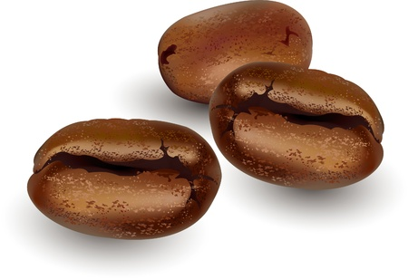 white beans: Coffee beans over a white background