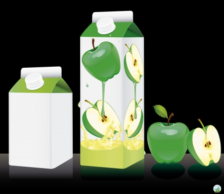 apple slice: Blank milk or juice pack illustration
