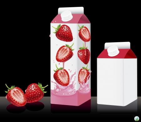 caja de leche: Blanco de la leche o jugo de ilustración paquete Vectores