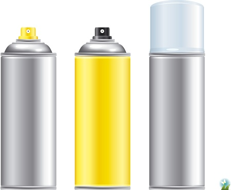 Blank aluminum spray can isolated on white background, Aerosol Spray Can , Metal Bottle   Vector
