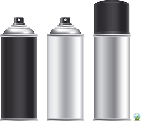 paint container: Blank aluminum spray can isolated on white background, Aerosol Spray Can , Metal Bottle Illustration