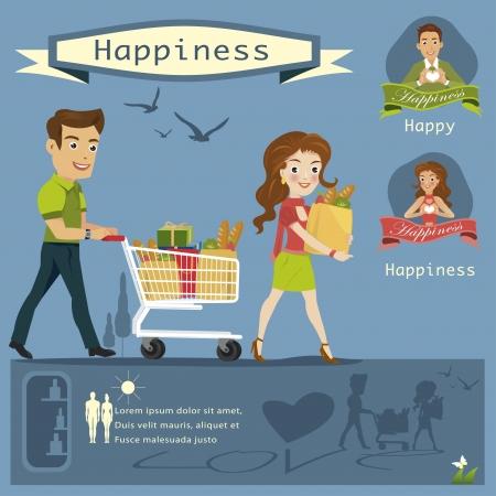 grocery shelves: woman man Shopping infographi cs vector illustration