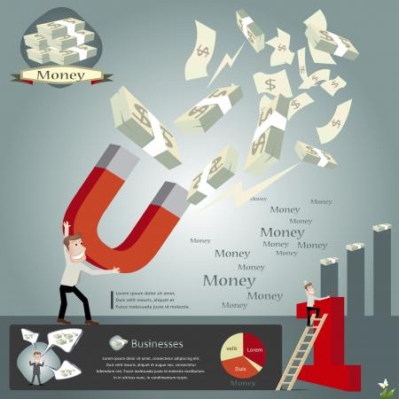 mágnes: Üzleti infographics illusztráció Illusztráció
