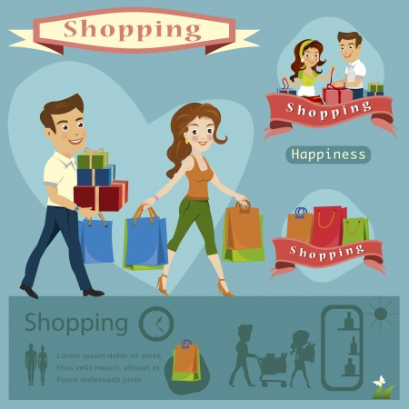 woman shopping cart: woman man Shopping infographics illustration