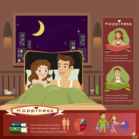 Young woman and man in bed infographics