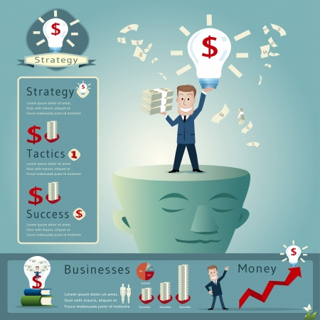 stratagem: Business man infographics vector illustration