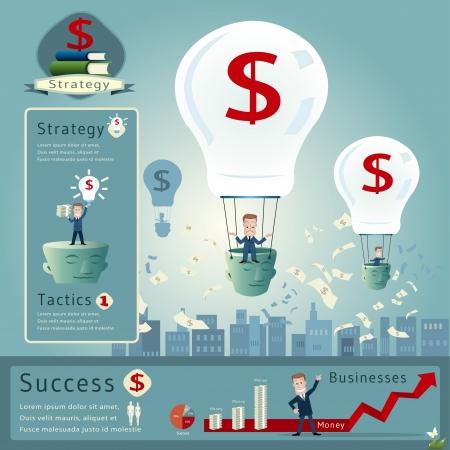 business risk: Business man infographics vector illustration