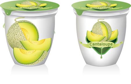 cantaloupe meloen yoghurt vector illustratie