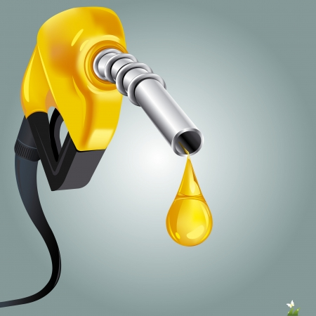 bio fuel: illustration of petrol nozzle on abstract