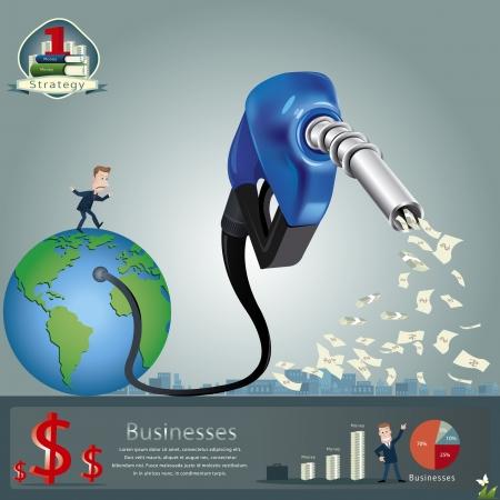 stratagem: A Blue fuel nozzle on a white  Illustration