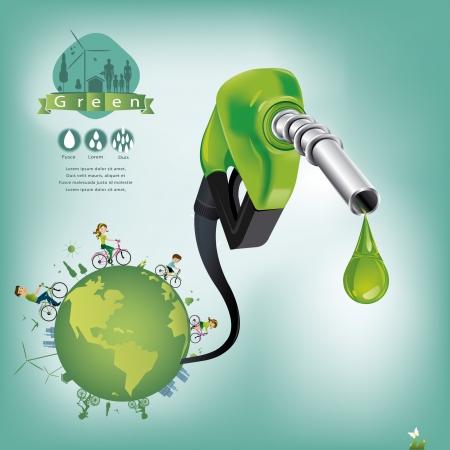 �conomie verte: Affaires de p�trole du monde vert Illustration