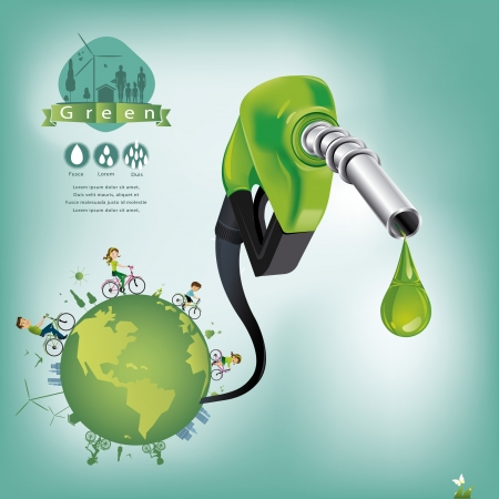 bio fuel: Business for oil from the green world  Illustration
