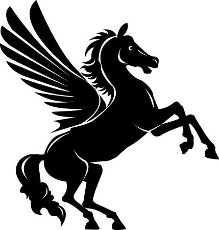 mane: vector illustration of reared pegasus