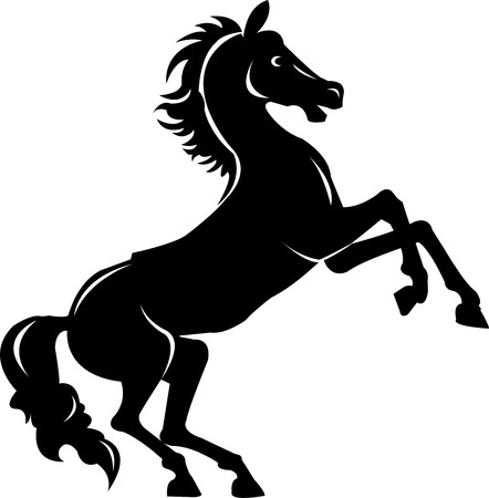 rearing: rearing horse fine vector silhouette - black over white