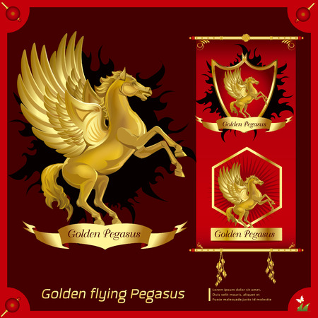Golden horse infographics Illustration