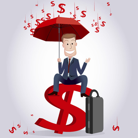 oblivious: Businessman sitting on currency sign Illustration