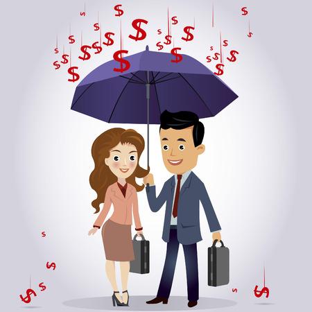 oblivious: Businessman and businessman woman under the umbrella