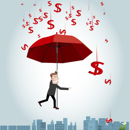 oblivious: Businessman floating in the air with an umbrella
