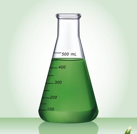laboratory glass: Test-tube with green liquid - Illustration