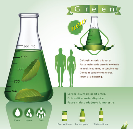 Test-tube with green liquid infographics - Illustration Vector