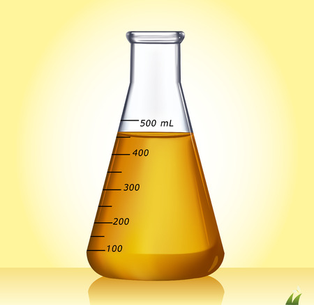Test-tube with yellow liquid - Illustration Vector